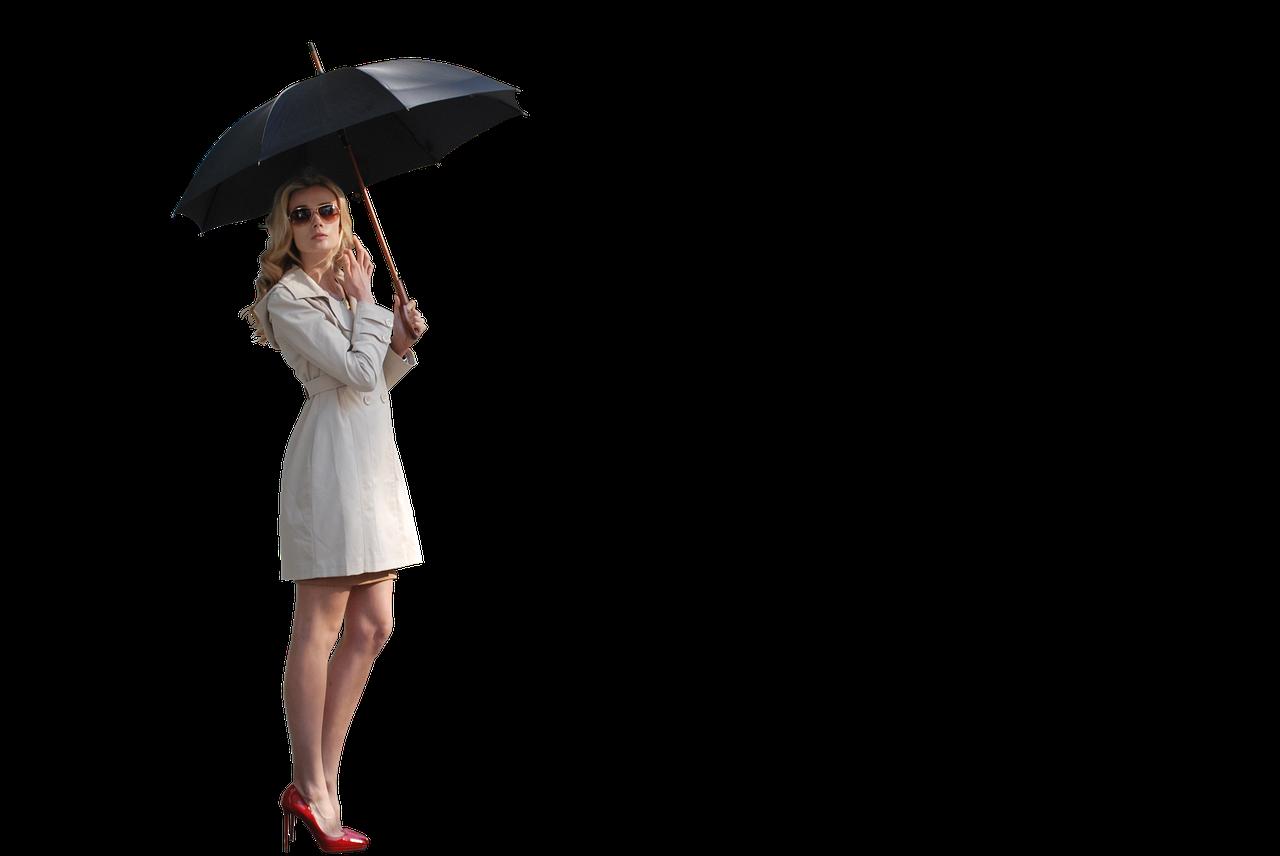 Kvinna i vit kappa